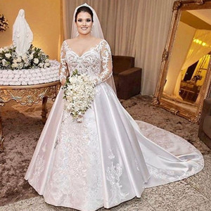 Romantic Plus Size Wedding Dresses Long Sleeves V-Neck Lace Appliques Bridal Dresses Glamorous Satin Sweep Train Wedding Gowns Cheap