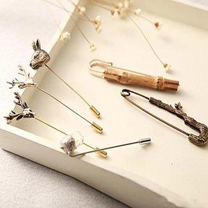 Atacado 7 Estilos Retro Deer Head Pin Broche Broches Emblema Do Esmalte de Metal Pin Broche Mulheres Jóias de Luxo Xmas Fontes Do Partido