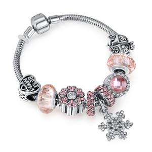 Fashion Jewelry European Women DIY Charm Bracelet Trendy Crystal Beads snowflake pendant Silver plated copper Bangle bracelets for Women