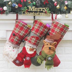 Meias de natal Feitas À Mão Artesanato Crianças Doces Presente Santa Bag Papai Noel Boneco de Neve Meias Meias De Veado Xmas Decoração Da Árvore de brinquedo de presente # 34 35 36