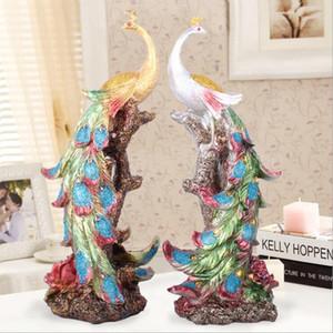 Resina Pavo Real Estatua Phoenix Estatua Colorida Pájaro Phoenix Estatuilla Escultura Pavo Real Muebles Para El Hogar Oficina Decorativa Bar Decoración