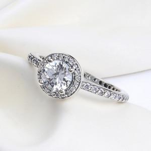 ANILLO lindo y romántico con caja original para Pandora Charms Jewelry CZ Diamond 925 Anillos de plata esterlina Regalo de boda de las mujeres anillo de dedo