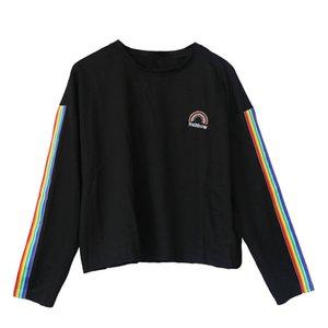 Neploe Harajuku Japanese T-shirt Woman White Black Tops 2018 Rainbow Print Tshrits Long Sleeve O-neck Loose Tee T Shirt 34541