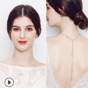 nakliye ücretsiz düğün taeesl geri zincir sıcak moda için takı Gelin Neckalce inci kolye