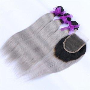 레이스 폐쇄 회색 옹 브르 버진 헤어 번들 상품에 검은 색과 폐쇄와 실키 스트레이트 옹 브르 회색 인간의 머리 되죠