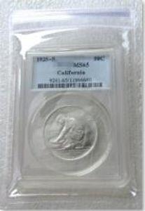 США монета 1925-с MS65 Калифорния Юбилейная половина доллара серебро монеты валюты старшего прозрачной коробке Бесплатная доставка