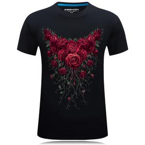 # 000000T Sommer Baumwolle T-Shirt Männer Rose Rose Blume gedruckt Mode lässig T-Shirt T-Shirt Top Tees Plus Größe XXXXl 2018 Neu