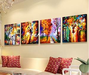 Panel Gemälde moderne Messer Malerei Landschaft 4 Panel Wand Kunst helle Ölgemälde Leinwand Wand Kunst Dekoration Kung Fu Kunst
