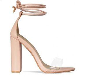 Transparent PVC Cheville Strap Femmes Pompes Peep Toe Talons Hauts Femmes Sandales Rose Nude Dentelle Block Heels Femmes Chaussures