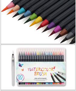 20 Color Pintura Premium Pincel Suave Conjunto de Plumas de Acuarela Marcadores de Arte Efecto de Pluma Mejor Para Manga Dibujo de Bosquejo Comic Caligrafía