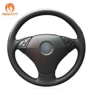 Mewant preto couro artificial tampa do volante do carro para bmw 530 523 523li 525 520li 535 545i e60