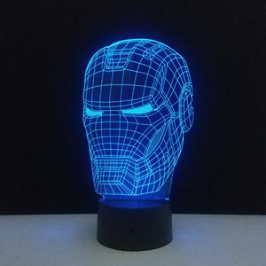 3D Iron Man Mask Lámpara Superhero Atmósfera Night Light Touch Control Home Bedroom DIY Decoración Creative Party Favors For Boys