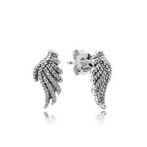 Authentique en argent Sterling 925 magnifique plume boucle d'oreille avec Crystal Fit Pandora bijoux femmes Stud