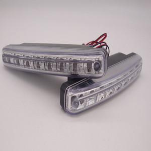 Işık DRL Kafa Lambası Süper Beyaz renkli su geçirmez dış Led Araba Styling Running 2pcs / Set DC 12V 8W 8LED Universal Araç Gündüz Sürüş