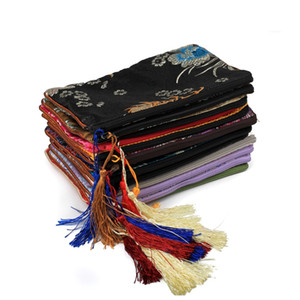 Rectángulo chino de seda bolsa con cremallera bolsas de regalo de Navidad universal del teléfono del bolso de la borla de monedero viaje Brocade joyería bolsa de 12x18cm 10pcs / lot