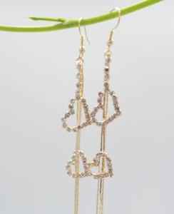 Trasporto libero Popolare ed esagerato doppio amore nappa orecchini super long style auricle orecchini di stringa classico alla moda squisita