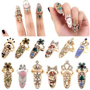 BOWKNOT prego Anel Charme Crown flor de cristal anéis de dedo prego por Mulheres Lady Rhinestone Unha de protecção moda jóias