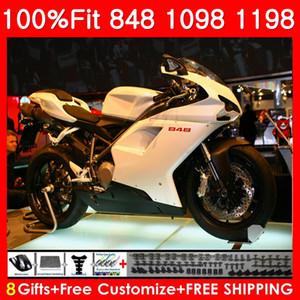 Injection Pour DUCATI 848 1098 1198 S 848R 1098R 07 08 09 10 11 75NO0 1198S 848S 1198R 2007 2008 2009 2010 2011 Carénage Pearl White + support