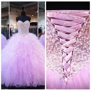 Sevgiliye İnciler Boncuklu En Abiye Quinceanera elbise Lace Up Geri Özel 2019 Ruffles Vestidos De Quinceanera Sweety 16 Yıl Partisi