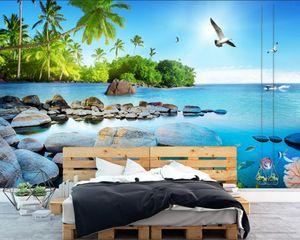 Пользовательские фото обои Seascape island 3D Wallpaper Живопись Современная мода Гостиная Спальня Отель ТВ Обои для рабочего стола