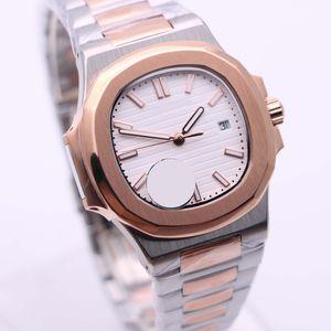 Boutique en or rose Bezel Mens Montres Automatique 40MM Ovale Cadran Blanc Mouvement squelette Transparent Montres-bracelets Bicolore Montre