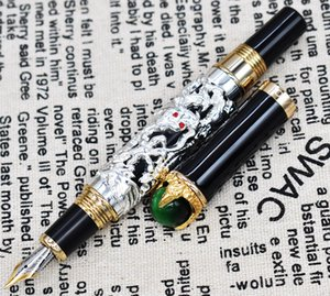 Jinhao Dragon King Vintage Fountain Pen, Green Jewelry Metal Embossing, Noble Silver Color Business Office Material escolar