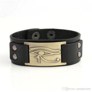 Lemegeton 2018 Nouveau Style Égyptien Plaqué Ankh Oeil De Horus Sigil Bracelet Pour Hommes En Cuir Véritable De Luxe Bracelet