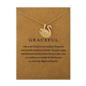 Hohe Qualität KEINE Dogeared LOGO Funkelnden Modeschmuck Graceful Swan Halskette Anhänger Für Frauen Frauen Schmuck (hat karte)