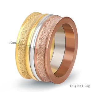 Senhoras europa titanium aço anel moda moer arenaceous three color anel mix tamanho 6 # a 9 #