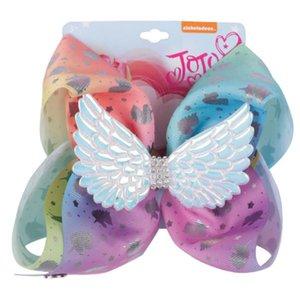 8 pulgadas Jojo Siwa arcos de pelo princesa Unicorn Cheer Bow con clip para el bebé niños niñas horquillas niños pelo accesorio niño sombreros