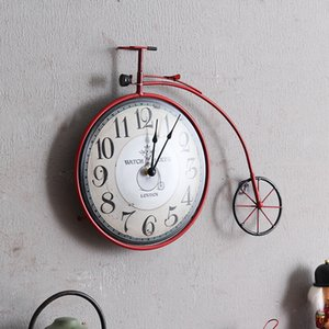 Cheap Clock Cycle Ornament Creative Wall Mural Decor Vintage Bike Design Hanging Personality Retro Bicycle Watch Home Decorative Kqxrn