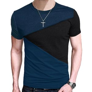 Fashion Patchwork Striped Mens T-Shirt Losse Fit t shirt casual tshirts Men Short Sleeve Tee Tops Hot Sale