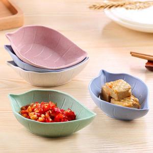 플라스틱 밀 짚 잎 칩 스낵 접시 주방 식초 조미료 소스 보관함 접시 접시 QW8893
