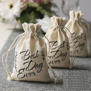 """""""Best Day Ever"""" Natural Hessian Burlap Bags Wedding Candy Gifts Bags Event Fiesta Regalos AA8218"""