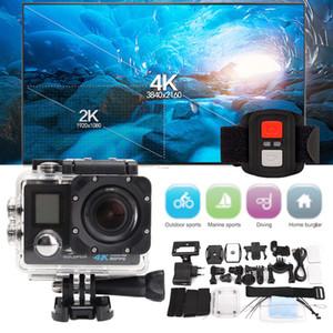 شاشة فائقة HD H22R 4K واي فاي كاميرا 16MP العمل المزدوج 170D العودة للماء برو كام 4K الرياضة كاميرا صغيرة دفر + التحكم عن بعد