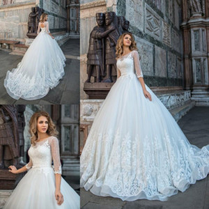Free Shipping 2018 New Arrival Lace Applique Jewel Tulle Lace-Up Wedding Dress Vintage Backless Ball Gown 3 4 Sleeve Bow Bridal Gowns