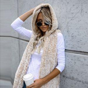المرأة شتاء دافئ مقنع الصدرية الصدرية أبلى معطف عادية فو الفراء زمم شيربا سترات Chaleco موهير