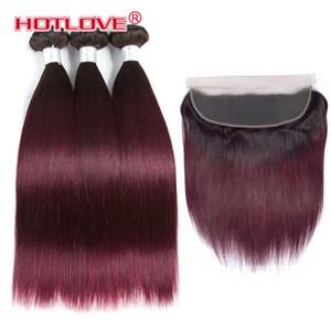 Ombre пучки с фронтальным закрытием бразильские прямые человеческие волосы переплетения пучок с 13 * 4 фронтальный двухцветный цвет T1b / 30 27 99J бордовый