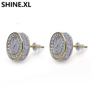 925 Sterling Silver congelado para fora CZ premium na Diamond Cluster Zirconia Rodada Screw Voltar brincos por Homens Hip Hop Jewelry
