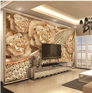 Custom Retail 3D Luxury Best Diamond Flower Jewelry TV Interior Wall Decoration Mural