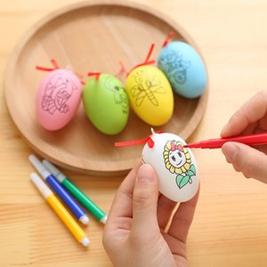 DIY 6cm Paskalya Çift Taraflı Baskı Yumurta Çocuklar El Yapımı Graffiti Renk Yumurta Kabuğu Oyuncak Parti Ev Dekorasyon Hediyeler 5pcs / Set HH7-363