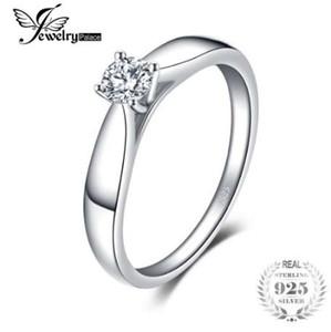 Jewelrypalace 925 Sterling Silber 0.2ct Zirkonia Solitaire Verlobungsring für Frauen New Simple Fingerring Trendy Schmuck