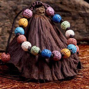 Bohême Colorisation naturel Lava Essential Pierre Huile Diffuseur Bracelet Chromatique Roches volcaniques Aromthraphy Perles Bangle femmes Bijoux