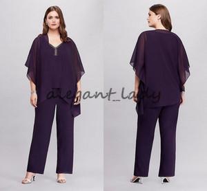 Mor Üç Adet Flowy Asimetrik Ceket ile Artı Boyutu Pantsuit 2018 Özel Gelin Damat Pantolon Suit Elbisesi Anne Elbise Giymek