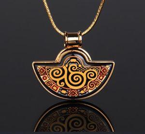 18K gold-plated enamel necklaces for woman Klimt Series Fan Pendant Necklace colar women necklace for gift