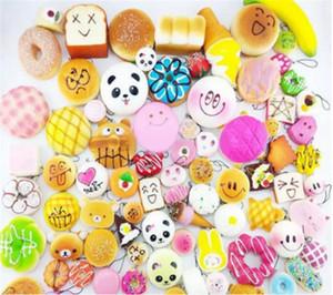 10 pçslote Kawaii Squishies Bun Torrada Pão Donut para o telefone celular Bag Charm Straps Atacado misturado Rare Squishy lento crescente lanyard perfumado