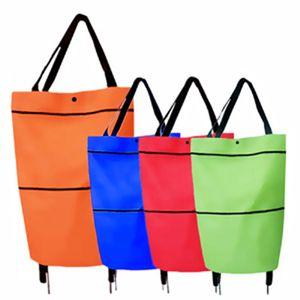 Ev taşınabilir yük taşıyan 10 kg el arabası teleskopik römorkör çantası süpermarket alışveriş çantası alışveriş sepeti katlanır alışveriş sepeti