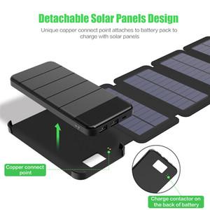 1 pc livre 20000 mah dobrado carregador de bateria de energia solar Banco de Energia Solar Removível Carregador Solar Caso para produtos Eletrônicos