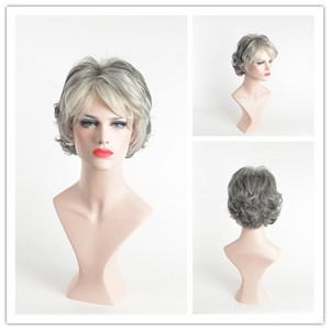 Gri Saç Kısa Kadın Peruk Siyah Mix Beyaz Sentetik Saç Isıya Dayanıklı Saç Kıvırcık Gri Peruk