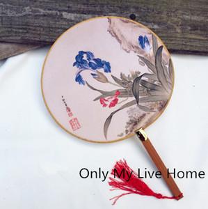 خمر صغيرة مستديرة مقبض مروحة التقليدية الحرفية الحرير مروحة اليد للنساء الديكور زي الرقص الصينية المشجعين لل زفاف